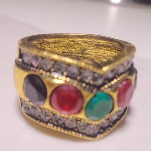 HAND CRAFTED MULTI GEM STONE ANTIQUE GOLD SIZE 8